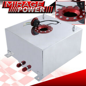 40 Liter 10 Gallon Chrome Aluminum Fuel Cell Tank W Red Cap Gauge Sender