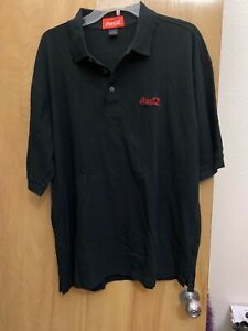 coca cola polo shirt Size L Black With Red Logo Cotton