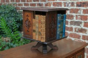 Antique English Carved Oak Revolving Bookcase Table Top Book Rack Book Shelf