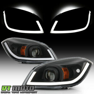 New 2005 2010 Chevy Cobalt 07 10 Pontiac G5 Black Led Tube Projector Headlights