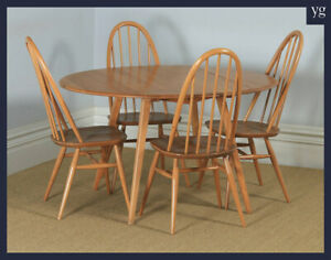 Vintage Set Elm Blonde Ercol Quaker Drop Leaf Kitchen Dining Table