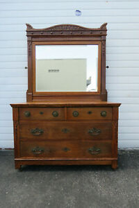 Victorian Early 1900s Tiger Oak Hand Carved Large Dresser With Mirror 1075