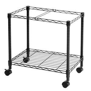Metal Rolling File Cart For Letter Size And Legal Size Folder On Wheels Black