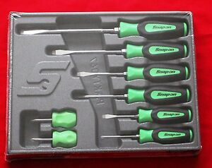 Snap On Green Tools Screwdriver Set 8 Pc Combination Soft Instinct Handle New