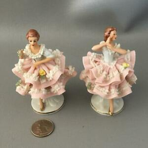 Antique Dresden Germany Lace Porcelain Miniature Ballerina Lady Figurine Doll