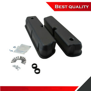 Suit Small Block Ford 5 0l Valve Covers Smooth W Hole Black Aluminum