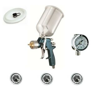 Devilbiss Finishline 4 Hvlp Spray Paint Gun W Air Regulator 3 Tips Flg670