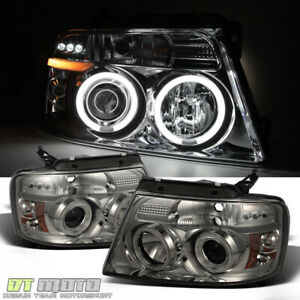 Smoked 2004 2008 Ford F150 Ccfl Halo Projector Led Headlights Lights Left right