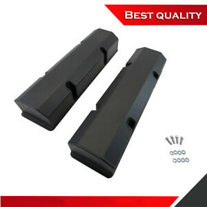 Suit Sbc Chevy 350 Tall Valve Cover Aluminum Black Powder Coated