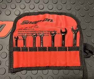 Snap On 7 Pc 6 point Metric Flank Drive Midget Combination Wrench Set 4 9 Mm