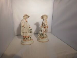 Antique Bisque Figurine Boy Girl Statues With Dogs