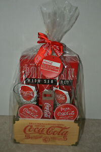 Coca-Cola Wooden Crate With 2 Glasses And Opener 2 Coasters & Popcorn exp 3/1/20
