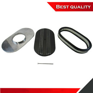 New 15 Oval Half Finned Air Cleaner Kit With Element Polished Aluminum Black