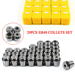 29 Pcs Er40 Precision Spring Collet Set Milling Lathe Cnc Chuck Bit Holder Tool