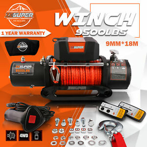 Zesuper9500lbs 12v Electric Winch Synthetic Orange Rope Truck 4wd