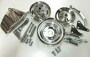 Sb Chevy Sbc Chrome Steel Long Water Pump Pulley Kit W Brackets 327 350 400 V8