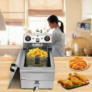 12 5qt Commercial Electric Deep Fryer French Fry Bar Restaurant Tank Basket 12l