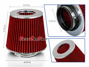 Red 3 25 82 5mm Inlet Cold Air Intake Cone Replacement Quality Dry Air Filter