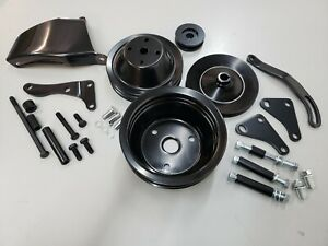 Sb Chevy Sbc Black Steel Long Water Pump Pulley Kit W Brackets 327 350 400 V8