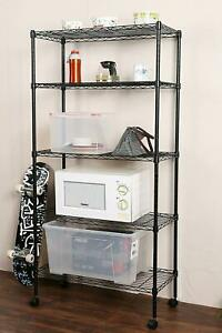 New Commercial 5 Tier Shelf Adjustable Wire Metal Shelving Rack W rolling Black
