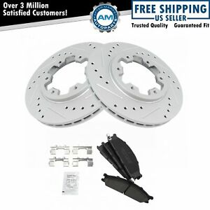 Brake Rotor Drilled Slotted Coated Ceramic Pad Front Set For Nissan