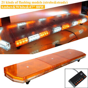 47 88 Emergency Strobe Light Bar Led Beacon Warn Tow Truck Response Amber White