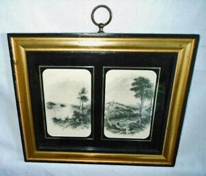 Antique Hand Colored Framed Art Gravures Sungott Art Studio Reverse Painted