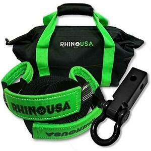 Rhino Usa Combo Recovery Tow Strap 30ft Shackle Hitch Receiver