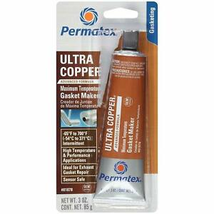 Permatex Ultra Copper Sensor Safe High temp Rtv Silicone Gasket Maker 3 Oz 81878