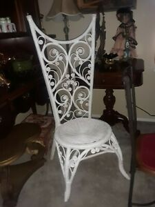 Ornate Vintage Wicker Rattan High Back Victorian Cottage Chic Chair