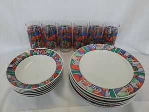 Coca Cola Dinnerware 16 pcs. 4 large dishes 4 deep dishes 4 glasses