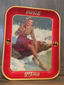 Vintage 1941 Coca Cola Advertising Tip Tray Female Skater w/ Hanger WWII Era