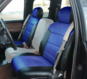 Chevy Silverado 2000 2002 Black blue S leather Custom Made 2 Front Seat Covers