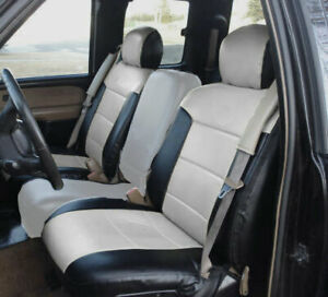 Chevy Silverado 2000 2002 Black Grey S Leather Custom Made 2 Front Seat Covers