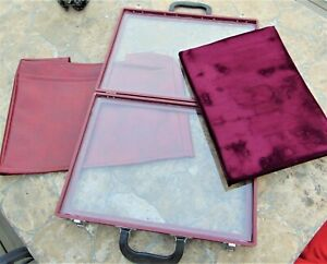 Portable Jewelry Display Case Briefcase 2 sided Glass Velvet Cushion custom