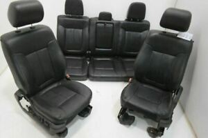 11 14 Ford F150 Front Bucket Rear 40 20 40 Bench Leather Black Seats