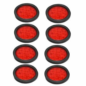 8x 4 Round 12 Led Trailer Tail Lights Truck Stop Brake Lamp W grommet Red