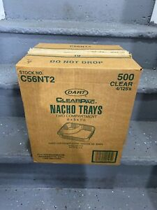 500 pack 6 X 5 Two Compartment Clear Plastic Small Disposable Nacho Trays