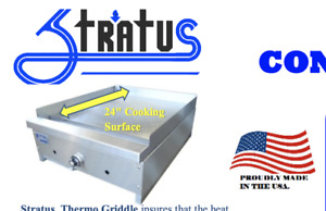 New 24 Thermostat Gas Griddle Flat Top Plancha Grill Nsf Stratus Stg 24 5826