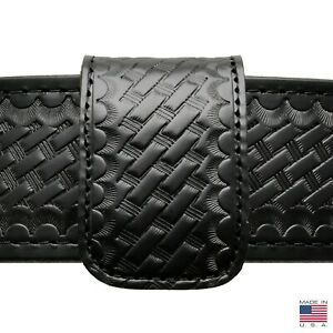 Perfect Fit Double Wide Belt Keeper Hidden Snap Basketweave Genuine Leather Usa