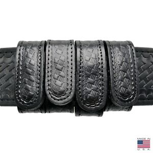 Perfect Fit Basketweave Duty Belt Keepers 1 Plain Leather Hidden Snap 4 Pack