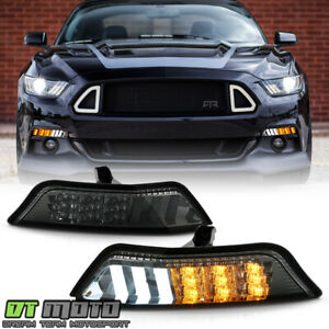 sequential 2015 2017 Ford Mustang Smoked Led Bumper Parking Lamp Signal Lights