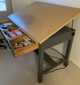 Adjustable Top Mayline Steel Drafting Table Desk With Drawers used