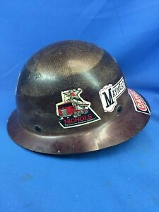 Msa Skullgard Fiberglass Full Brim Hard Hat 9 Stickers Great Condition