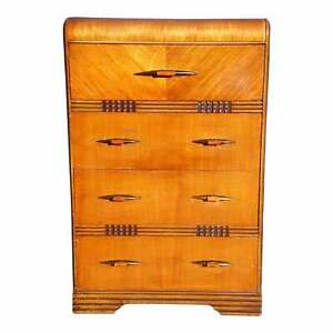 Vintage Art Deco Waterfall Highboy Dresser Walnut Chest Of Drawers Bakelite Pull