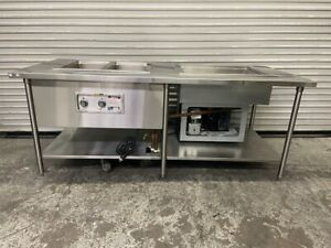 84x36 Hot Cold Food Prep Station Steam Table Refrigerated Warming Wells 3737