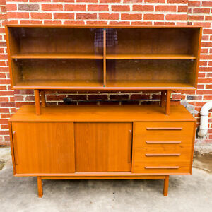 Danish Modern Teak Credenza With Glass Door Hutch Mcm Local Pick Up Only
