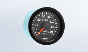 Vdo 2 1 16 In Vision Black 150 Psi Mechanical Rear Air Pressure Gauge 12v