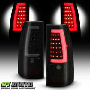 2003 2006 Chevy Silverado 1500 2500 3500 Black Smoked Led Tube Tail Lights Lamps