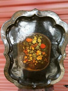 Antique Large Flowers In Vase Metal Toleware Scalloped Edge Serving Tray 30x24